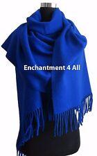 Large 100% 4-Ply Pure Cashmere Shawl Wrap, Royal Blue