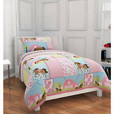 Girls Pony Country Horse Bed in Bag Comforter 5 PC Set Bedding Pink TWIN Size