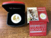 2016 Australia Lunar Year of the Monkey GILDED 1oz Silver Coin Gilt with Box COA