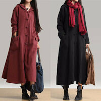 Retro Women's Robe Cape Loose Hooded Cotton Linen Chinese Casual Maxi Long Dress