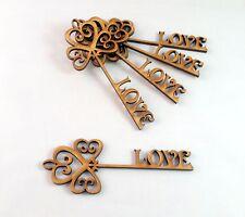 5x MDF Wooden Wedding love Key Shape,Valentine's Day Craft heart Decoration