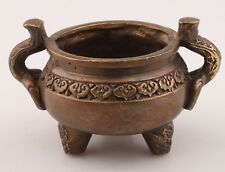 Ancient Chinese Bronze Statue Xiang Ding Incense Burner Old Buddhist Ornament