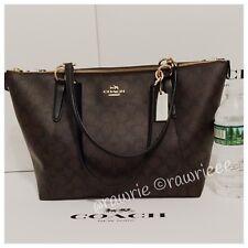 NWT COACH Signature AVA Zip Top Tote Shoulder Bag F58318 Brown Black $350
