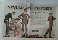 1920 men's Styleplus clothes suit vintage original two-page color fashion art ad