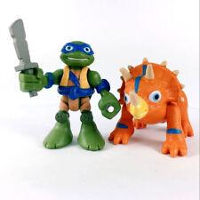 2X Half Shell Heroes TMNT LEO & TRICERATOPS Teenage Mutant Ninja Turtles Figures