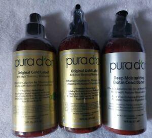 PURAD'OR Original Gold Label Anti Thinning Shampoo & Biotin Conditioner 16oz