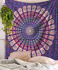 Peacock mandala tapestry Indian cotton wall hanging hippie bohemian tapestries
