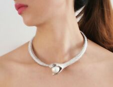 New Snake Women Choker Austrian Crystal Necklace Faux Pearl Silver Plated