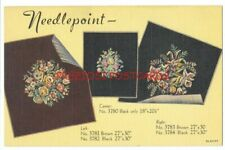 NEEDLEPOINT SEWING CRAFTS -1937 LINEN AD Postcard