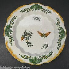 "Vtg Bassano Italy Deep Plate 9"" Crazed Glaze Finish Hand Painted Butterflies"