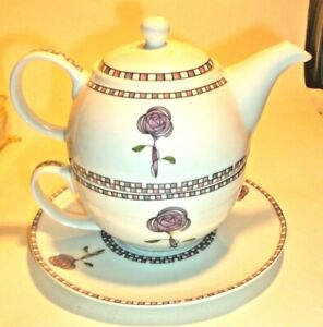 ONE PERSON TEAPOT AND CUP IN CHARLES RENNIE MACKINTOSH STYLE- UNUSED AND LOVELY