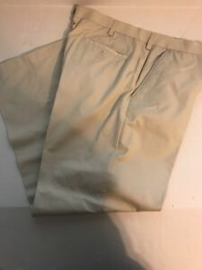 CROFT & BARROW Men's Khaki Flat Front Straight Leg Dress Pants Size 40 x 32