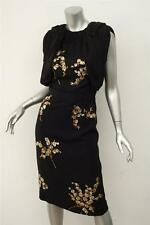 MIU MIU *RUNWAY* LTD EDITION Black DANDELION Sequin Floral Open Back Dress 42 XS