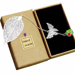 Toirxarn Marque-page de feuille de métal exquis, avec papillon 3D et perles de