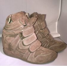 Steve Madden Hilight Women's Wedge Heel High Top Sneakers Brown Tan Suede Size 5
