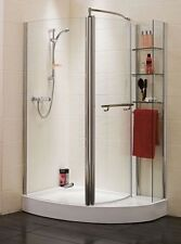 Aqualux Offset Quadrant Enclosure with Polished Silver Shelves Clear And Tray