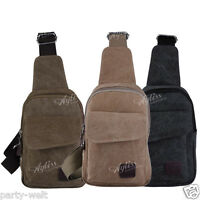 Casual Men Canvas Pure Colour Single Shoulder Bag Sport Satchel Cross Body PW