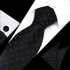 Mens Classic Black Purple Pattern Silk Tie Handkerchief Hanky Cufflinks GIFTSET