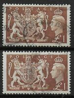 SG 512. 1951 Festival £1 Brown. 2 Fine Used Examples. Cat.£18 Each. Ref.0-119