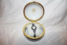 Vintage VECCELI Italy Womens Wrist Watch in Porcelain Trinket Box