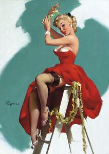 Gil Elvgren Pinup Girl A3 size 29.7x42cm Retro Canvas Art Print Poster Unframed