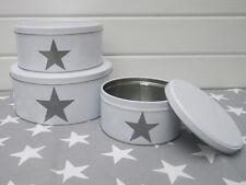 Boîte étoile GRAND , comme Lot de 3 en blanc avec gris étoile