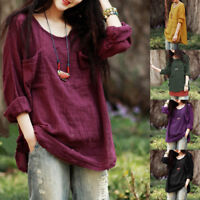 Plus Size Women Long Sleeve Cotton Linen Kaftan Pullover Baggy Blouse Shirt Tops