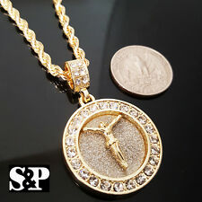 "Round Cz Pendant w/ 24"" Rope Chain Necklace Hip Hop Iced Out Jesus Cross Gold Pt"
