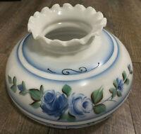 "Vintage Large Milk Glass Hurricane Lamp Shade Painted Blue flowers 9 1/2"" Base"