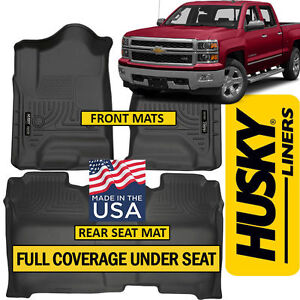 Husky Weatherbeater 2014-18 Chevy Silverado Crew Cab FULL COVER Floor Mats BLACK