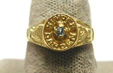 14K Yellow gold  Kindergarten School ring with Birthstone Size 4.25