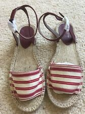 NWT$39 Ann Taylor Loft Summer Spring Flats Shoes Sandals Sz 7 Red Brown NEW