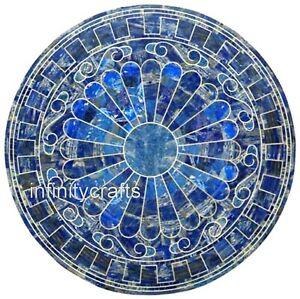 Marble Dining Table Top with Lapis Lazuli Stone Inlay Work Decent Center Table