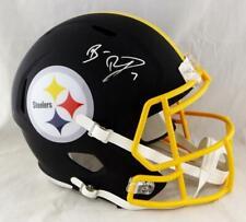 Ben Roethlisberger Autographed Steelers F/S Flat Black Helmet- Beckett Auth *Sil