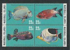 MARSHALL ISLANDS, SCOTT # 74-77 (77A), BLOCK OF 4 MNH REEF & LAGOON FISH, MNH