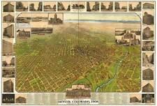 DENVER COLORADO, 1908 Vintage City Map Reproduction CANVAS PRINT 36x24 in.