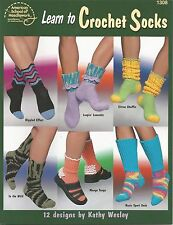 Learn to Crochet Socks Crochet Patterns 12 Designs Adults Women's ASN 1308 NEW
