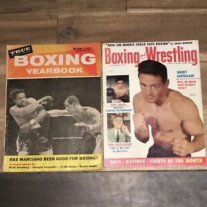BOXING YEARBOOK 1956 EDITION & BOXING & WRESTLING MAGAZINES SEPT 1955 / LOT OF 2