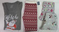 NEW Lot of 4 Women's Christmas Penguin Owl Fox Santa Pajama Pants & Tops Large