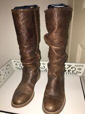 Bronx Brown Mid Calf Leather Boots Rouched Size UK 6 / Eur 39 Used Not Abused