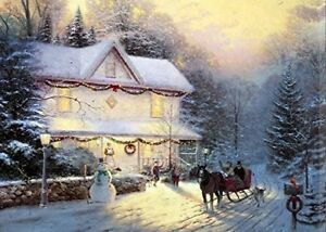 Large LED Fibre Optic Wall Hanging Picture Canvas Winter Snowman Scene 60 x 40cm