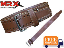 """MRX 4"""" Weight Lifting Belt Leather Gym Training Fitness Power Back Support"""