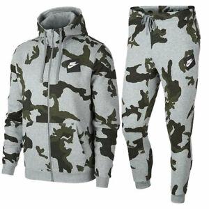NIKE Mens AOP Camouflage Club Zip Hoodie Full Tracksuits Cotton Top Bottom Hoody