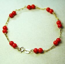 14k solid yellow gold lightweght natural Red Coral bracelet 7 1/4 inches long