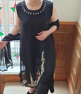 Designer Chiffon Hand Embroidery Suit Stitched Lined Trouser Chiffon Dupatta UK