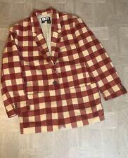 Red Plaid Checkered Blazer Vintage DKNY Donna Karan NY Womens Sz 8 Korea READ
