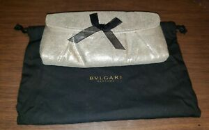 """Bvlgari Parfum Small Makeup Cosmetic Clutch Champagne Gold  Snap Closure 6"""""""