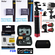 """2x Battery for GoPro Hero8 BLACK AABAT-001 + CHARGER + HARD CASE + 12"""" TRIPOD"""