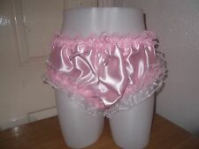 LADIES~SISSY~MAIDS~ADULT BABY~UNISEX SILKY SATIN PANTIES WITH LACE FRILLS