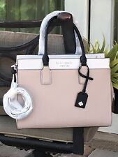 KATE SPADE CAMERON LARGE SATCHEL SHOULDER TOTE BAG BEIGE WHITE BLACK LEATHER